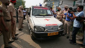 Imagen de la ambulancia que se llevó a Rizwana