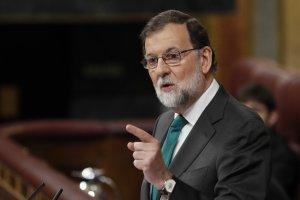 Imagen de Rajoy durante su intervención el jueves con su corbata verde.