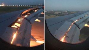 Imágenes del ala del avión de Arabia Saudí en llamas