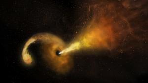 Simulación de la explosión del agujero negro tras tragarse una estrella de la galaxia Arp 299-B