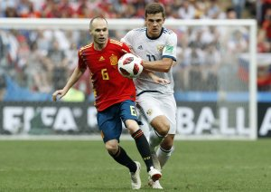 Imagen del partido entre España y Rusia en el Mundial.