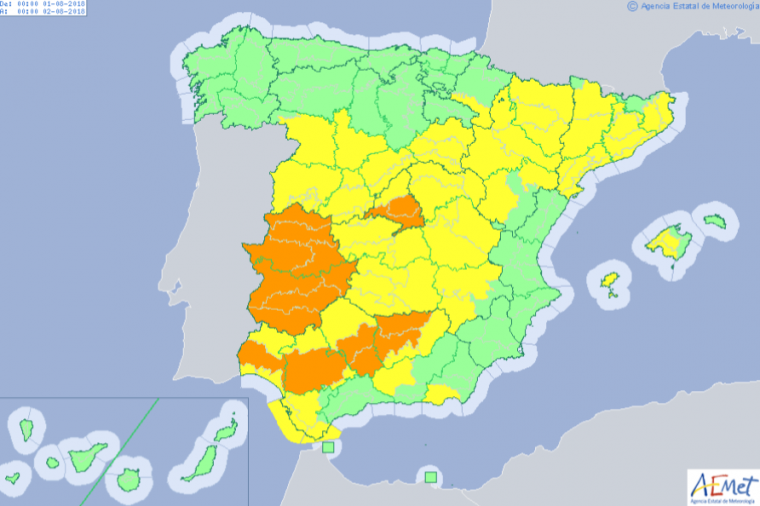 Mapa de avisos por la ola de calor este miércoles