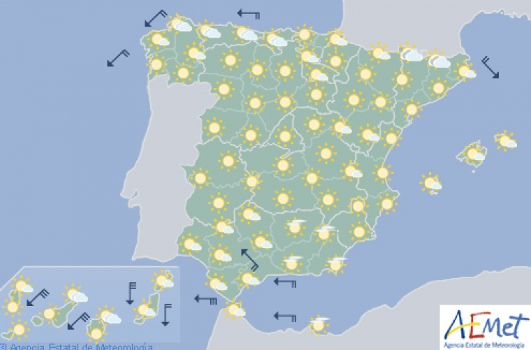 Mapa de previsión para este miércoles