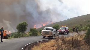 Incendio forestal en San Vicente de Alcántara, Badajoz.