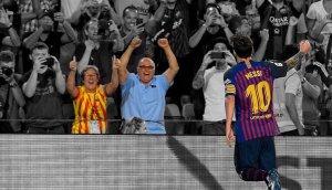 Els dos veïns de Calafell, celebrant el  gol de Messi.
