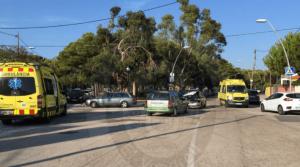 Imatge de l'accident frontal a l'avinguda Brisamar.