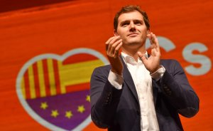 Albert Rivera, el líder de Ciutadans, ha presidit l'acte convocat aquest migdia a Reus.