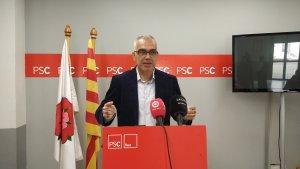 Andreu Martín, portaveu del PSC, durant la roda de premsa d'aquest matí