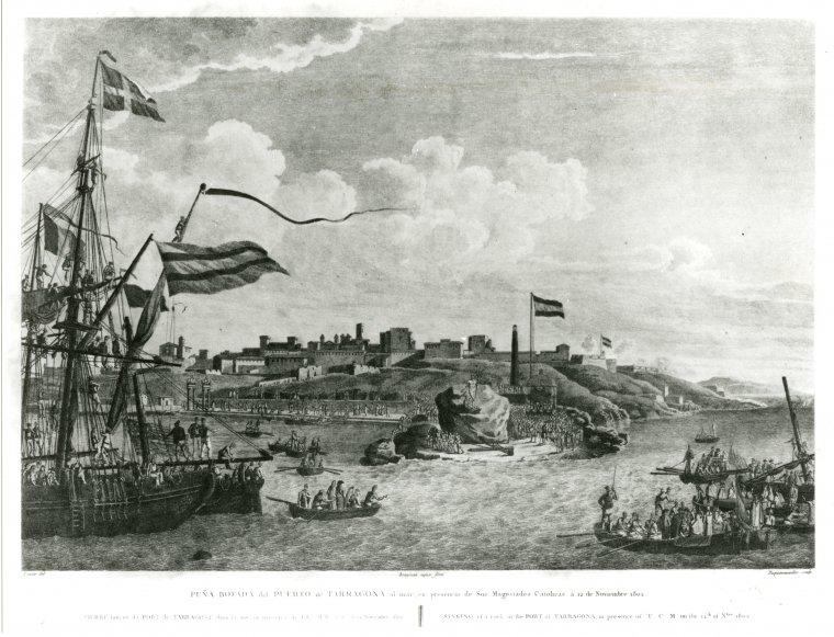 Gran pedra col·locada sobre el burro. Gravat de 1802 que commemora la visita del rei Carles IV a les obres portuàries.