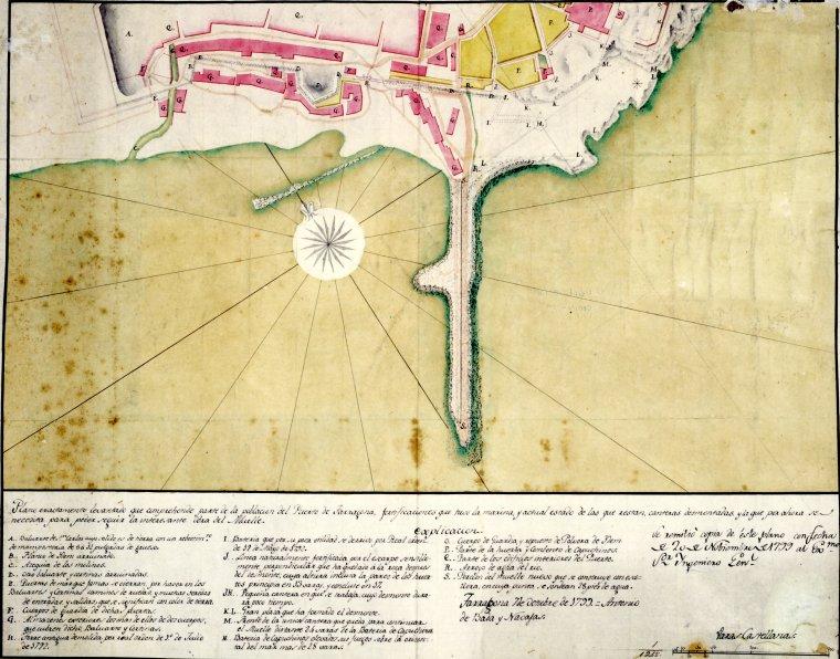 Plànol de Tarragona i el seu port a l'any 1799, on es detallen les restes del port romà.