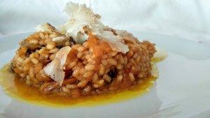 Imatge del rissotto de carabassa i camagrocs amb vermut.