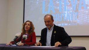 Núria Gavarró, regidora de Participació Ciutadana i Igualtat i Jordi Cartanyà, primer tinent d'alcalde, han presentat els pressupostos participatius.