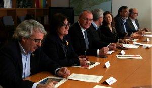 Els alcaldes de Cambrils, Reus i Tarragona en la reunió amb el secretari d'Infraestructures i Mobilitat de la Generalitat.