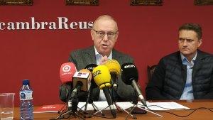 Isaac Sanromà, durant l'esmorzar de Nadal amb la premsa