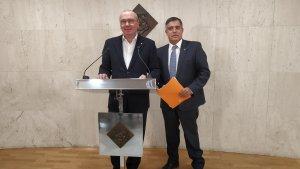 L'alcalde de Reus, Carles Pellicer, i el regidor d'Esports, Jordi Cervera
