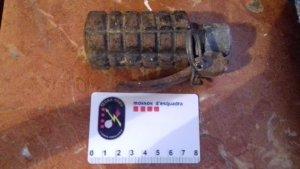 Imatge de la granada de mà trobada a Bellmunt del Priorat