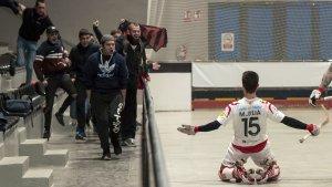 Marc Julià ha anotat el gol del triomf i l'afició reusenca desplaçada ho ha celebrat amb eufòria
