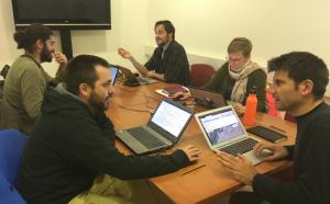Moment d'un workshop a l'ICAC amb alguns dels investigadors del projecte. A la dreta de la imatge, Héctor Orengo.