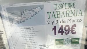 Imatge del cartell que ofereix un paquet a 'Tabarnia'.