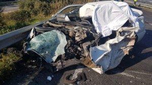 Imatge d'un dels accidents mortals durant el gener a Tarragona, a la C-14.