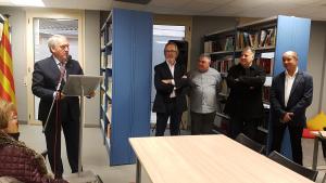 El president de la Diputació de Tarragona, Josep Poblet, durant la inauguració a l'edifici de l'Ateneu.