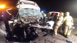 Imatge de l'accident d'aquest matí a l'AP-7 a l'altura de Tarragona