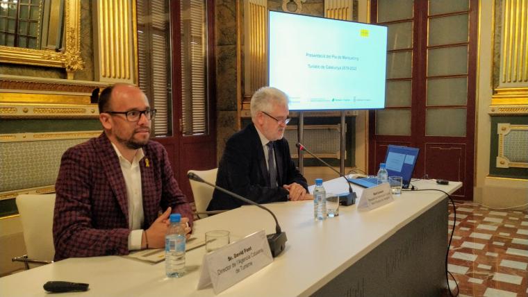 David Font, director de l'ACT i Martí Carnicer, president del Patronat de Turisme, durant la presentació