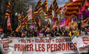 Capçalera de la manifestació de l'1 de maig a Tarragona.