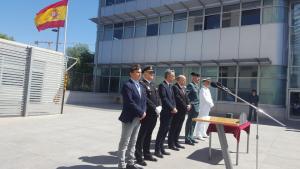 D'esquerra a dreta, Josep Acero; Carlos Yubero; Xavier Jou; Joan Sabaté; Vicente Luengo i Antonio Bergoñós, presidint l'acte del 175è aniversari a Tarragona de la Guàrdia Civil.