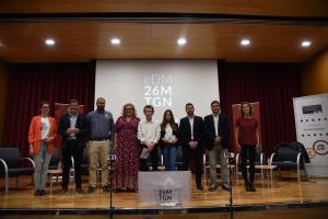 Els membres de les llistes que es presenten a les eleccions municipals de Tarragona, a l'Aula Magna del Campus Catalunya de la URV.