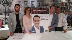 Els quatre membres d'Ara Reus amb la presentació del «26 de maig, vota en clau local»