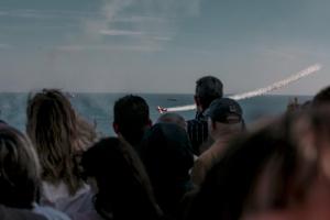 Exhibició aèria de l'equip Bravo3 Repsol a la façana marítima de Tarragona