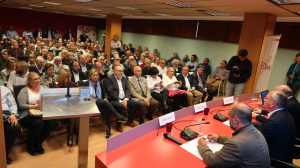 Imatge de la conferència electoral de Carles Pellicer a la Cambra de Comerç de Reus