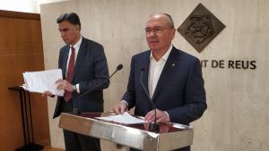Joaquim Enrech i Carles Pellicer durant la roda de premsa