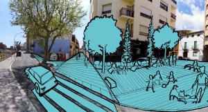 La proposta de Junts pel Vendrell per fer de vianants la plaça de França.