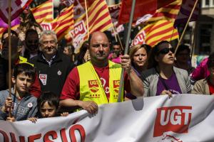 Sindicats UGT i CCOO i s'han manifestat aquest Primer de Maig a Tarragona