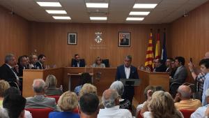 Pere Virgili, en el seu parlament un cop ha estat escollit alcalde de Roda de Berà.