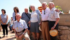 Els quatre supervivents de la Batalla de l'Ebre i la Guerra Civil espanyola que han participat a l'homenatge.