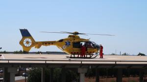 Imatge de l'helicòpter medicalitzat a l'heliport de l'Hospital Sant Joan de Reus