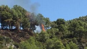 Els Bombers apaguen una represa del foc de Querol de dimecres passat