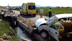 Imatge de l'accident a la TV-3409 a Deltebre