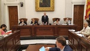 Imatge de la capçalera del govern municipal de Reus al saló de plens