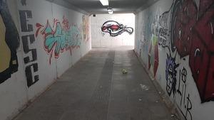 Imatge del pas soterrat de l'estació de tren de Vila-seca.