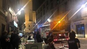 Imatge dels Bombers al lloc dels fets la segona vegada, al vespre