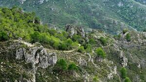 El traçat del camí ral entre el Perelló i Tivenys per la serra del Boix.