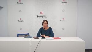Imatge de la consellera socialista Begoña Floria durant la roda de premsa d'aquest dimecres.