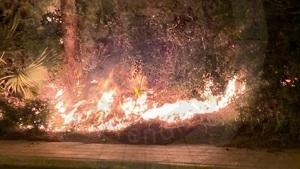 El foc ha cremat matolls i vegetació a Coma-ruga.