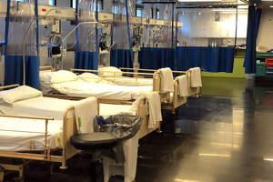 Pla general de llits de la zona per a pacients crítics amb coronavirus de l'hospital de Blanes (Selva) el 25 de març del 2020