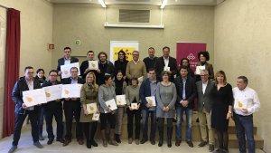 Foto de família dels quatre nous municipis del segell Muntanyes de Prades