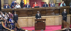 Carles Puigdemont, al Parlament de Catalunya abans de declarar la independència.